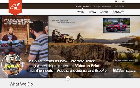 Screenshot of Home Page americhip.com - Americhip: Patent Holders Video Brochures & Video Books - captured Oct. 1, 2015