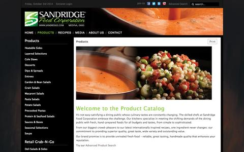 Screenshot of Products Page sandridge.com - Products - Premium Retail and Foodservice Supplier | Sandridge Foods | Soups, Salads, Sides, Sauces and Entrees - captured Oct. 4, 2014