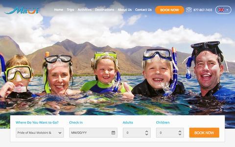 Screenshot of Home Page prideofmaui.com - PRIDE OF MAUI   Molokini Discovery Snorkeling Tour - captured July 25, 2015