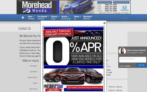 Screenshot of Contact Page moreheadhonda.com - Morehead Honda | New Honda dealership in Newburgh, NY 12550 - captured Feb. 28, 2016