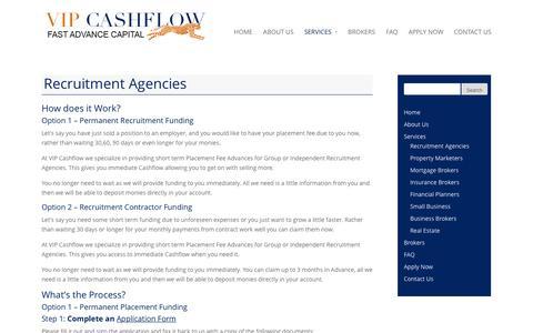 Screenshot of Services Page vipcashflow.com.au - Recruitment Agencies | VIP Cashflow - captured Feb. 24, 2016
