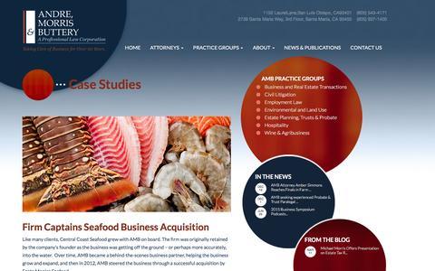 Screenshot of Case Studies Page amblaw.com - Case Studies - AMB Law - captured Feb. 6, 2016