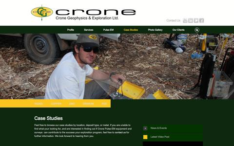 Screenshot of Case Studies Page cronegeophysics.com - CASE STUDIES | Crone - captured Oct. 3, 2014