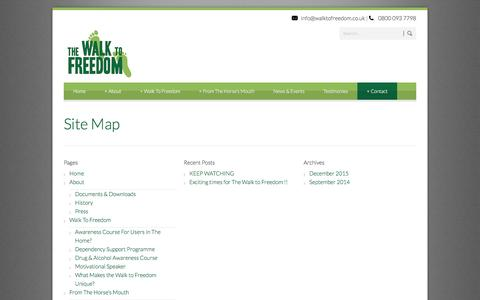 Screenshot of Site Map Page walktofreedom.co.uk - Walk to Freedom  » Site Map - captured April 3, 2016