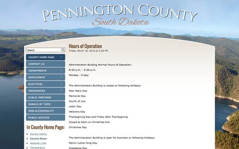 Screenshot of Hours Page pennco.org - Hours of Operation - 		County News - Pennington County, South Dakota - captured Jan. 19, 2017