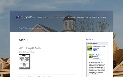 Screenshot of Menu Page captainsclubatwoodfield.com - Menu - captured Sept. 27, 2014