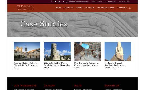 Screenshot of Case Studies Page clivedenconservation.com - Case Studies | Cliveden Conservation - captured May 18, 2017