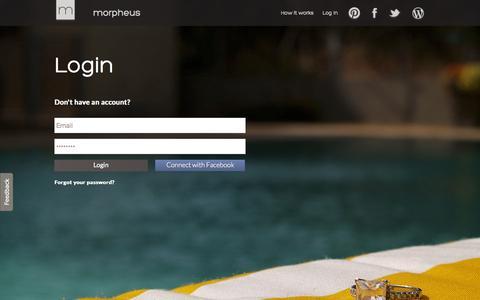 Screenshot of Login Page morphe.us.com - Morpheus - login - captured Oct. 9, 2014