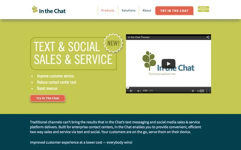 Screenshot of Home Page inthechat.com - Text Messaging for Customer Contact Centers - captured Sept. 6, 2015