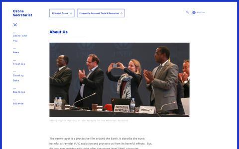 Screenshot of About Page unep.org - About Us | Ozone Secretariat - captured Oct. 23, 2018