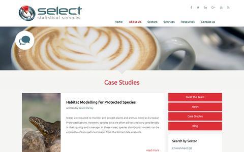 Screenshot of Case Studies Page select-statistics.co.uk - Case Studies - Select Statistical Consultants - captured Nov. 18, 2016