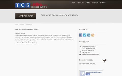 Screenshot of Testimonials Page tcs-communications.com - Client Testimonials | TCS Communications - captured Oct. 26, 2014