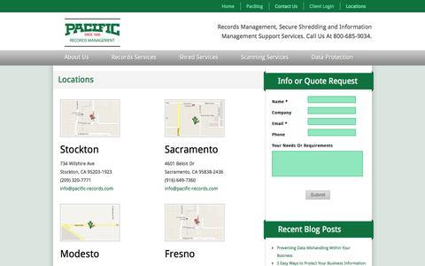 Screenshot of Locations Page pacific-records.com - Pacific Records Management Locations in Stockton, Sacramento & Modesto - captured Oct. 1, 2014