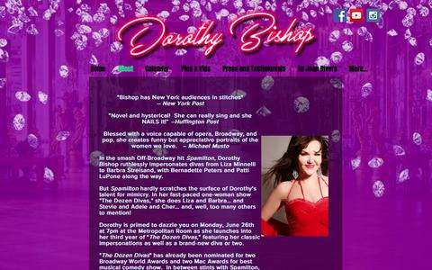 Screenshot of About Page dorothybishop.com - About Dorothy Bishop - The Dozen Divas Show - captured Feb. 21, 2018