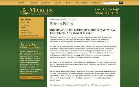 Screenshot of Privacy Page barefootlawyer.com - Privacy Policy - captured Oct. 27, 2014