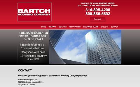 Screenshot of Contact Page bartchroofing.com - Contact Bartch Roofing Company | St. Louis Roofing Contractor - captured Nov. 3, 2014