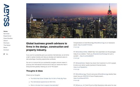Screenshot of Home Page abyssglobal.com - Abyss Global Ltd. - International business growth for architecture, engineering and construction - captured Nov. 20, 2016