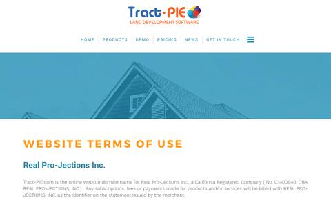 Screenshot of Terms Page tract-pie.com - TERMS OF USE - captured Oct. 20, 2017