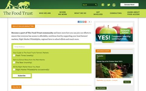 Screenshot of Signup Page thefoodtrust.org - The Food Trust   Sign Up for Our Newsletters - captured Sept. 17, 2014