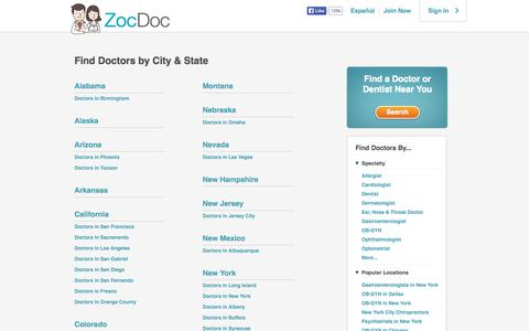 Screenshot of Locations Page zocdoc.com - Find Doctors by City & State - ZocDoc - captured Sept. 17, 2014