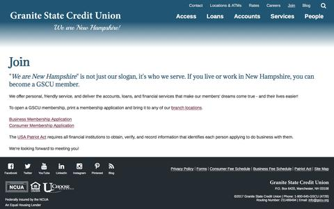 Screenshot of Signup Page gscu.org - Join - Granite State Credit Union - captured Sept. 11, 2017