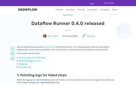 Screenshot of Blog snowplowanalytics.com - Dataflow Runner 0.4.0 released - captured Feb. 10, 2020