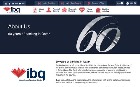 Screenshot of About Page ibq.com.qa - About Us     International Bank of Qatar - captured Oct. 15, 2017