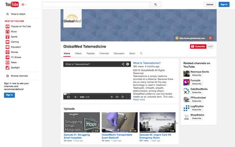 Screenshot of YouTube Page youtube.com - GlobalMed Telemedicine  - YouTube - captured Oct. 22, 2014