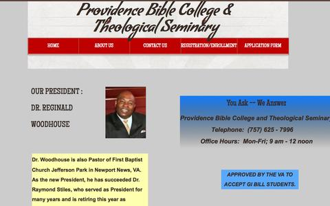 Screenshot of About Page pbcts.edu - Providence Bible College And Theological Seminary : About - captured Feb. 2, 2016
