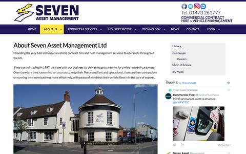 Screenshot of About Page sevenasset.co.uk - About Seven Asset Management Ltd | Commercial Vehicle Contract Hire & Fleet Management throughout the UK : Commercial Vehicle Contract Hire & Fleet Management throughout the UK - captured Oct. 27, 2017