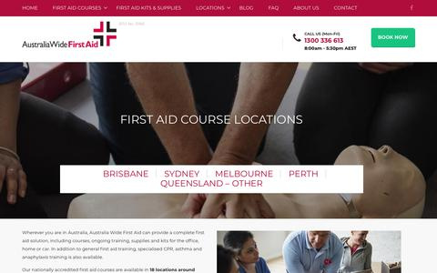 Screenshot of Locations Page australiawidefirstaid.com.au - First Aid Course Locations   Australia Wide First Aid™ - captured July 31, 2018