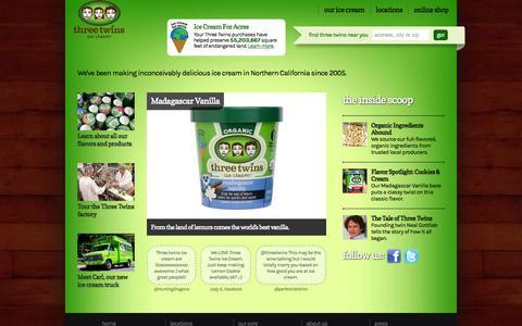 Screenshot of Home Page threetwinsicecream.com - Welcome to Three Twins Ice Cream   Three Twins Ice Cream - captured June 21, 2015