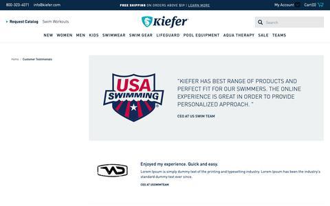 Screenshot of Testimonials Page kiefer.com - Customer Testimonials - captured Sept. 30, 2018
