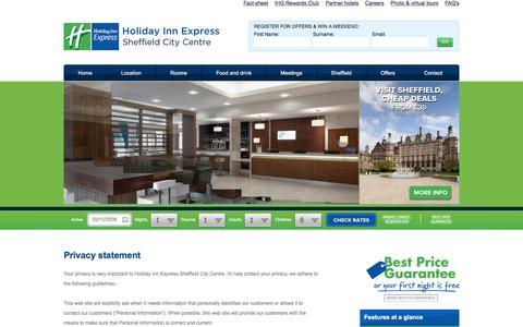 Screenshot of Privacy Page hiexsheffield.co.uk - Holiday inn Express hotel Sheffield City Centre | cheap Sheffield hotel rooms | Sheffield hotel deals - captured Nov. 10, 2016