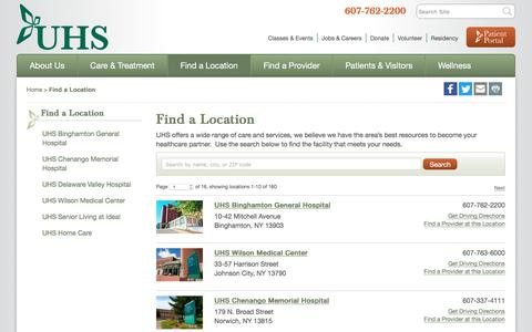 Screenshot of Locations Page uhs.net - Locations, New York - UHS - captured Oct. 3, 2017