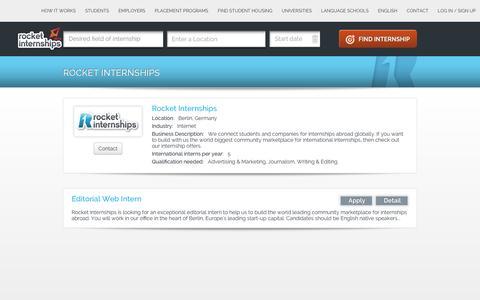 Screenshot of Jobs Page rocketinternships.com - Internships at  Rocket Internships - captured Jan. 11, 2016