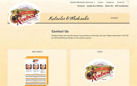 Screenshot of Support Page norbest.com - Norbest | Retailer / Wholesaler Resources - captured Oct. 19, 2018