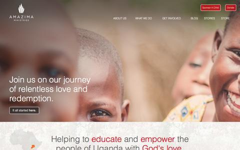 Screenshot of Home Page amazima.org - Amazima Ministries - captured Jan. 28, 2016