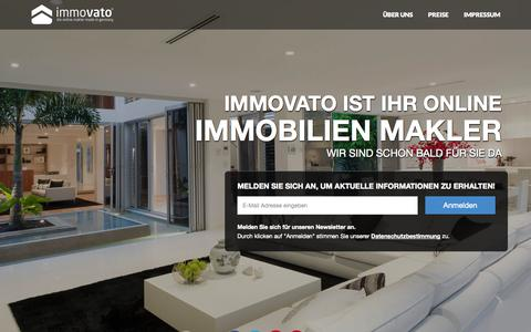 Screenshot of Home Page immovato.com - Immovato - Die Online Makler - captured Sept. 24, 2014
