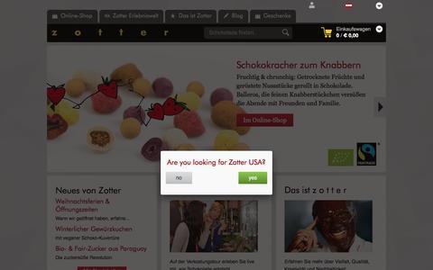 Screenshot of zotter.at - zotter Schokoladen Manufaktur: Startseite - captured Dec. 25, 2016