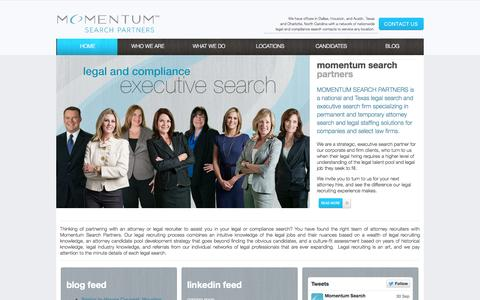 Screenshot of Home Page momentumlegal.com - Momentum Search Partners - Legal & Compliance Executive Search - captured Oct. 7, 2014