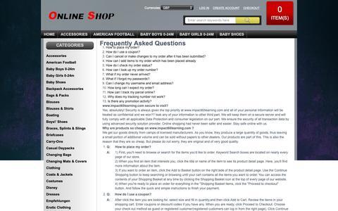 Screenshot of FAQ Page impact60learning.com - FAQ : Womens Athletic Shoes,Women's Shirts - captured Oct. 1, 2018