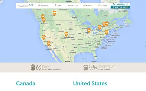 Screenshot of Locations Page myessentia.com - Essentia Locations - Mattress Store Locations - captured Sept. 25, 2014