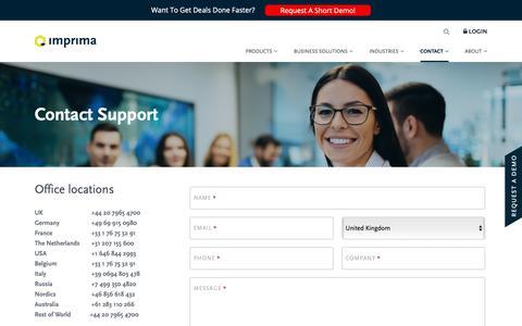 Screenshot of Support Page imprima.com - Contact Support - Imprima - captured Nov. 6, 2018
