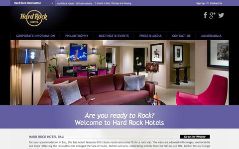 Screenshot of Home Page hardrockhotels.net - Hard Rock Hotels - Discover our 3 hotels In Bali, Pattaya and Penang - Official website - captured Jan. 26, 2015