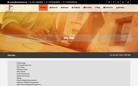 Screenshot of Site Map Page areinfotech.com - Web Development Ahmadabad - SEO Ahmadabad - PHP Training Ahmadabad - captured May 28, 2017