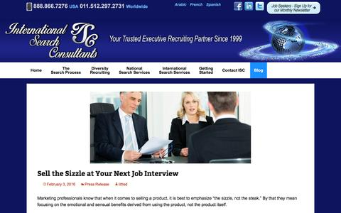 Screenshot of Blog iscjobs.com - Blog | International Search Consultants | Your Trusted Executive Recruiting Partner Since 1999 - captured Feb. 11, 2016