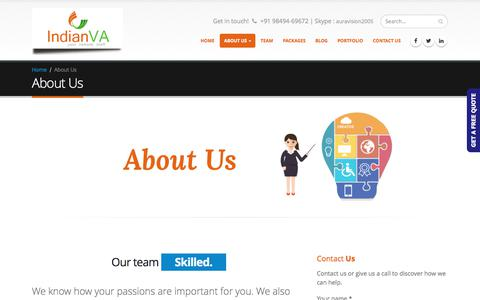 Screenshot of About Page indianva.com - About us |Virtual Assistant Services | remote assistants - captured June 7, 2017