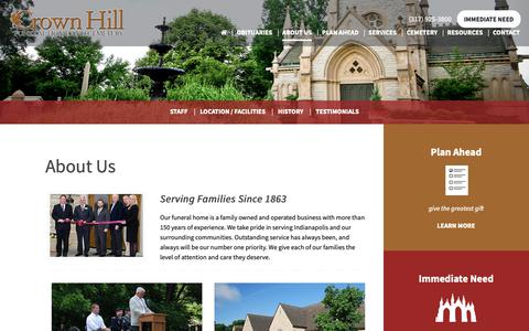 Screenshot of About Page crownhill.org - About Us | Indianapolis, IN | Crown Hill Funeral Home and Cemetery - captured Sept. 29, 2018
