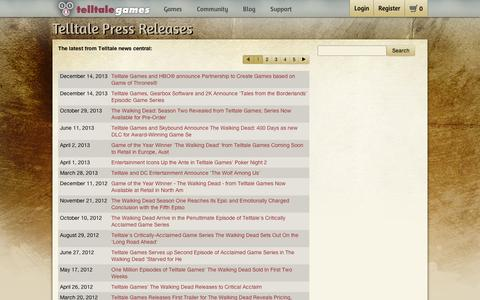 Screenshot of Press Page telltalegames.com - Press - Telltale Community - captured Sept. 11, 2014